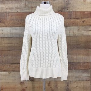 J.Crew Womens Chunky Cable Knit Turtleneck Sweater